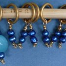 Stitch marker, knitting 6+1 ,  pearl and glass, blue