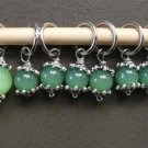 Stitch marker, knitting 6+1  green jade & pewter caps