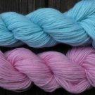 Wool sock yarn sport weight, baby blue & soft pink