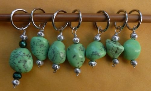Stitch marker, knitting 6+1  , green turquoise