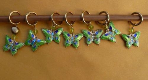 Stitch marker, knitting 6+1  Cloisonne beads butterfly