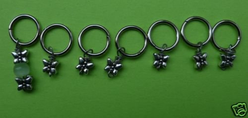 Stitch marker, knitting 6+1 ,  pewter, small butterfly
