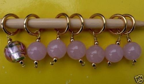 Stitch marker, knitting , lamp work glass beads, pink