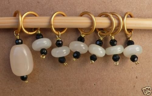 Stitch marker, knitting 6+1 ,  stone & onyx, black