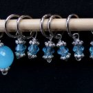 Stitch marker knitting / crochetting 6+1 pcs,  lt blue