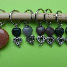 Stitch marker, knitting 6+1 ,  agate beads, heart