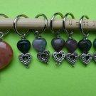 Stitch marker, knitting 6+1 ,  agate beads, heart