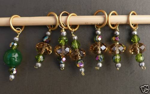Stitch marker, knitting 6+1 ,  crystal faceted beads