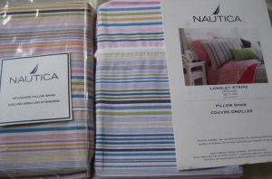 Nautica Langley Stripe Standard Pillow Shams New