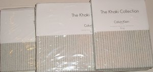 Calvin Klein Tinted Floral Tinted Stripe King Comforter Sheet Set 5pc New