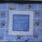 Blue Skull Window pane Cotton Twin Sheet Set 3pc Blue New