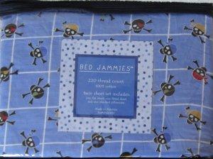 Blue Skull Window pane Cotton Twin Sheet Set 3pc Blue New