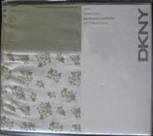 DKNY Morning Garden Sage Green King Sheet Set 4pc 300TC New