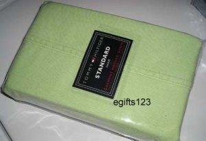 2 Tommy Hilfiger GREEN ICED DENIM Standard Pillow SHAMs New