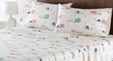 Home Classics Elephants Full Heavyweight Flannel Sheet Set White 4pc NIP