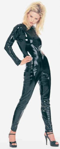 0808L-V6000  1 pc Black Vinyl Long Sleeve Catsuit Costume