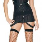 0811L-8107  2 pc Strappy Suspender Pinstripe Gangster Girl Costume