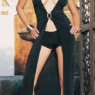 0475L-8789   Slinky Long Dress with Rhinestone Front Buckle and Boyshorts