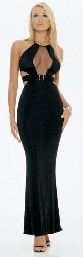 0850L-8629  Slinky Keyhole Long Halter Dress