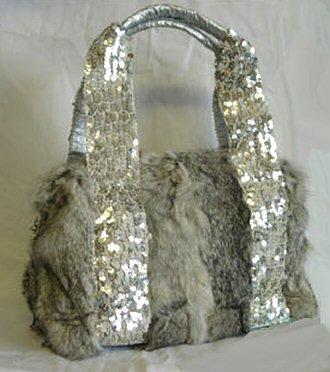 0617HB-RF8528   Genuine Rabbit Fur Handbag with Sequined Strap