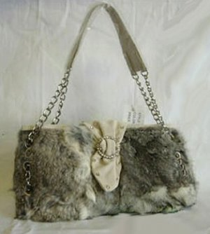 0618HB-RF8167  Genuine Rabbit Fur Handbag with Chain Strap & Rhinestone Front Accent