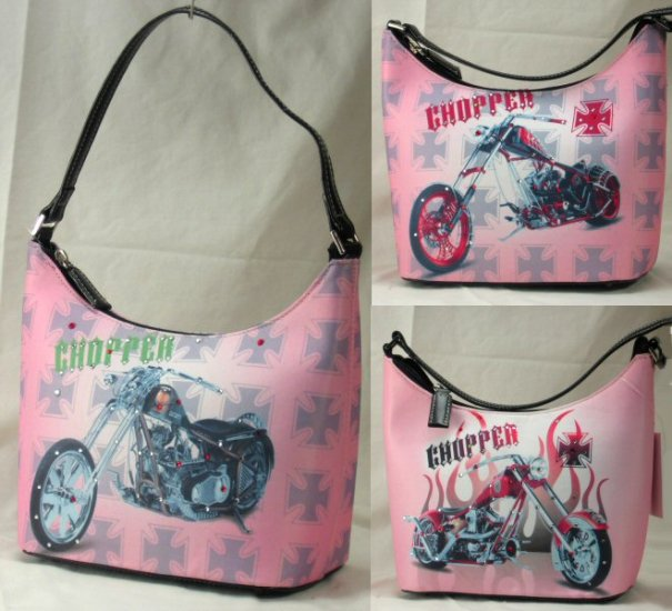 0629HB-PB2046  Petite Bucket Handbags with Front Motorcycle Design