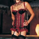 0387L-8662  2 Piece Embroidered Mesh Corset with Lace Up Back