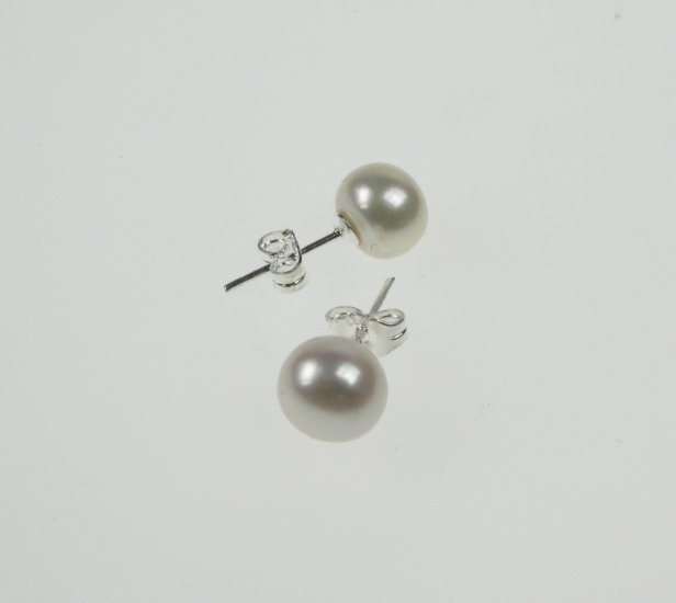 8-9mm AAA white freshwater cultured pearl earring jewellery pierced sterling silver 925 stud