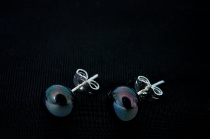 AAA 8-9mm black freshwater cultured pearl earring jewellery pierced sterling silver 925 stud