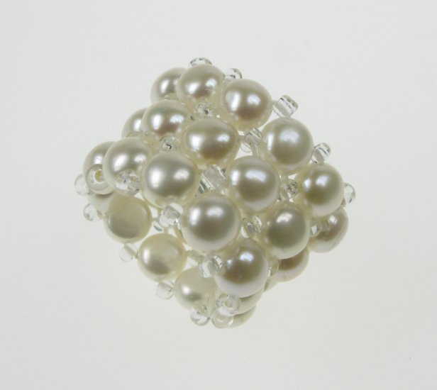 AAA white freshwater cultured pearl triple band ring fits any size