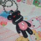 Kawaii Cabochon handmade necklace with free mini memos black bear # B1