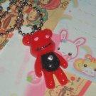 kawaii cabochon handmade necklace with free mini memos red bear # B2