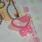 Kawaii Cabochon handmeade necklace pink and white heart swirl with free mini memos # B5