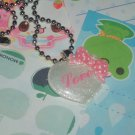 Kawaii Cabochin handmade necklace with memos pink and white love heart # B7