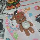 Kawaii Cabochon handmade necklace brown bear with free memos # B8