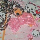 Kawaii Cabochon kandmade necklace pink glittery bow with memos # B11