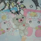 Kawaii Cabochon handmade necklace white bear with heart plus free memos #B14