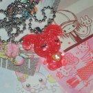 Kawaii cabochon handmade necklace red glittery bunny rabbit with free memos # B16