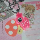 Kawaii cabochon handmade necklace pink deer with free memos #B17