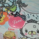 Kawaii cabochon handmade necklace pink and black love heart with free memos #B23