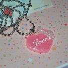 kawaii cabochon handmade necklace pink and white love heart plus free memos #B32