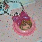Kawaii bottlecap cabochon handmade necklace girly pink plus free memos #B33