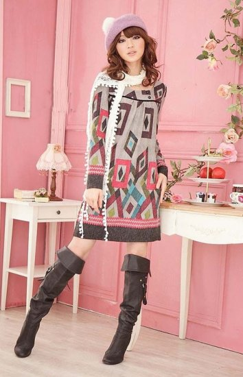 Blended Wool Long-Sleeve Tunic Dress: Bethany