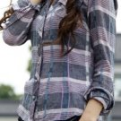 Purple Plaid Long Sleeve Preppy Style Shirt: Trishia