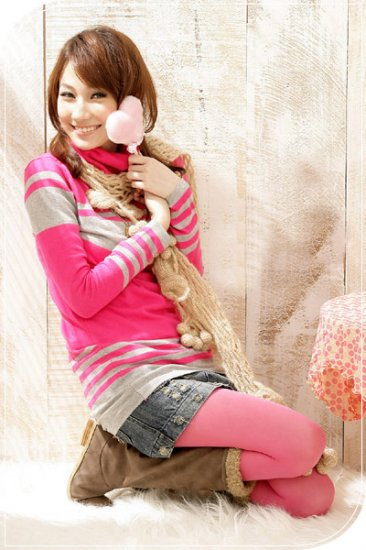 I Love Pink Turtleneck Sweater: Daphne