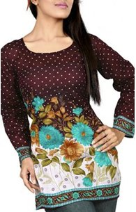 Flower Motif Cotton Voile Tunic (Kurtis) from India: Sabina