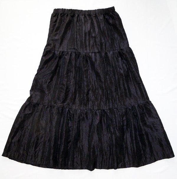 Artisan / Handcrafted Long Black Taffeta Bohemian Skirt: Sahara