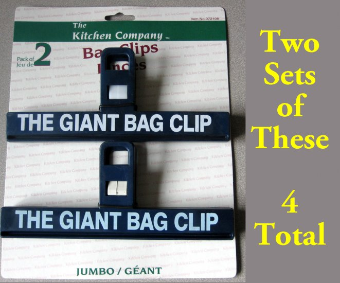 "4 Giant 8"" Potato Chip Bag Clips"