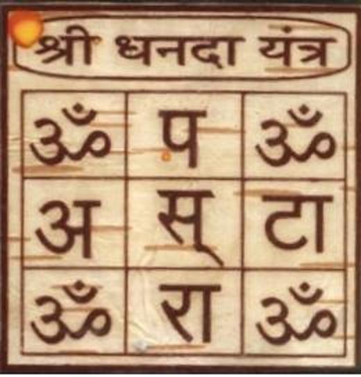 Sri Dhanda ( wealth , laxmi) Yantra on Bhojpatra