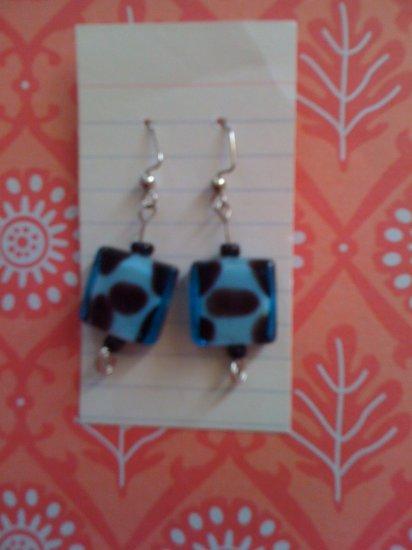 blue square glass beads